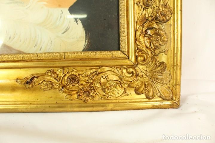 Arte: Bellísima litografía iluminada y enriquecida, en marco de madera dorado. París, s XIX. - Foto 8 - 142665294