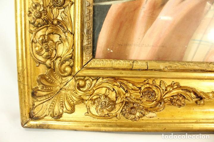 Arte: Bellísima litografía iluminada y enriquecida, en marco de madera dorado. París, s XIX. - Foto 9 - 142665294