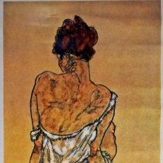 Arte: PRECIOSA LITOGRAFIA DE - EGON SCHIELE - ZITTENDE VROUW, OP DE RUG GEZIEN 1917 TAMAÑO 70X50 CMSX. Lote 143157834