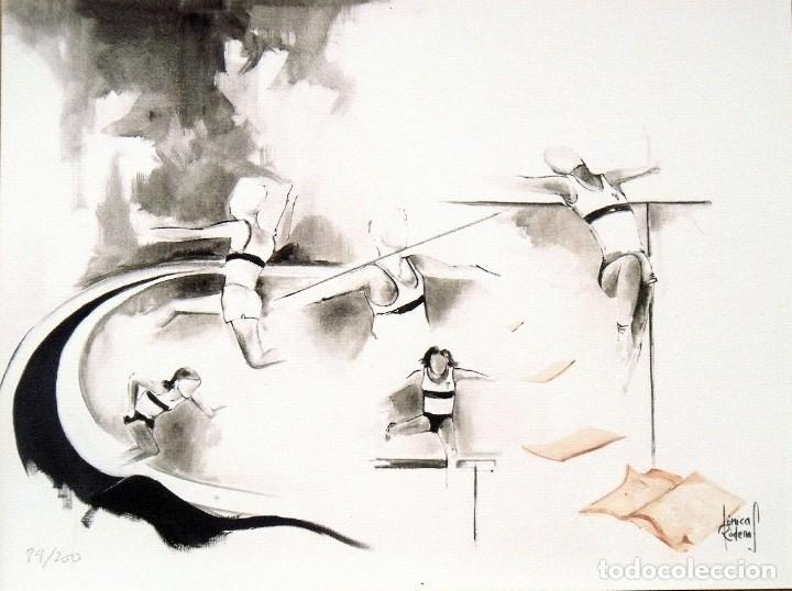 LITOGRAFÍA DE MÓNICA RÓDENAS. ATLETAS. FIRMADA EN PLANCHA. NUMERADA A MANO 89/200. BUEN ESTADO. (Arte - Litografías)