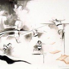 Arte: LITOGRAFÍA DE MÓNICA RÓDENAS. ATLETAS. FIRMADA EN PLANCHA. NUMERADA A MANO 89/200. BUEN ESTADO.. Lote 145063350