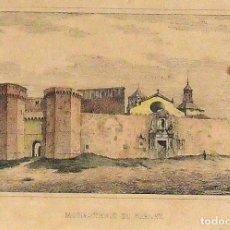Arte: LITOGRAFÍA COLOREADA A MANO: MONASTERIO DE POBLET. SIGLO XIX. F. PÉREZ Y DOMÓN.. Lote 134024546