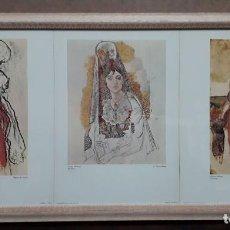 Arte: BONITO CUADRO CON TRES LITOGRAFIAS ORIGINALES DE PICASSO S.P.A.D.E.M. 1973 ,ENMARCADO DE CRISTAL. Lote 146869138