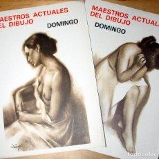 Arte: MAESTROS ACTUALES DEL DIBUJO: DOMINGO-2 CARPETAS/ 8 GRABADOS 27X38-ED.MESSEGUER 1980'S. Lote 147110954