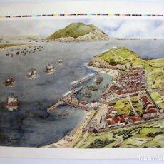 Arte: BATALLA DE LAREDO AÑO 1639. LITOGRAFÍA TAMAÑO EXTERIOR 70X87CMS. Lote 147499674