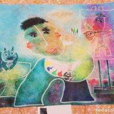 Arte: JUAN RIPOLLES - GATO MIRANDO AL PINTOR - LITOGRAFIA ORIGINAL CON CERTIFICACION. Lote 147795302