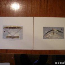 Arte: DOS LITOGRAFÍAS VINTAGE MAQUINAS VOLADORAS. Lote 148058082
