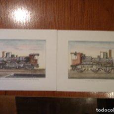 Arte: DOS LITOGRAFÍAS VINTAGE LOCOMOTORAS A VAPOR . Lote 148058466