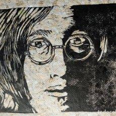 Arte: LITOGRAFÍA DE JOHN LENNON SOBRE PAPEL RECICLADO, HECHA EN LA HABANA POR UN ARTISTA CUBANO.. Lote 148151502