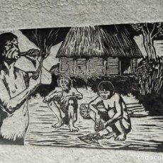 Arte: LITOGRAFÍA DE LOS ANTIGUOS INDIOS ABORÍGENES DE CUBA, FUMANDO TABACO. HECHA EN LA HABANA.. Lote 148154730