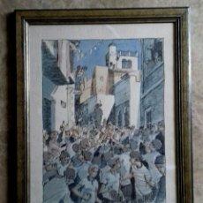 Arte: LITOGRAFIA ENMARCADA Y NUMERADA Y FIRMADA ,UNA PROCESION (DESCONOZCO AÑO). Lote 149848842
