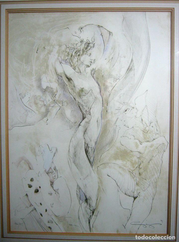 97 CM - JÜRGEN GÖRG . PRANA ( ALEMANIA) - LITOGRAFIA NUMERADA . DESNUDOS FEMENINO MASCULINO (Arte - Litografías)