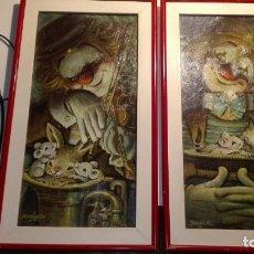 Arte: 2 CUADROS VINTAGE LITOGRAFÍA - EL PAYASO POETA- FERRANDIZ - TAMAÑO 50X28 CM. Lote 151456106