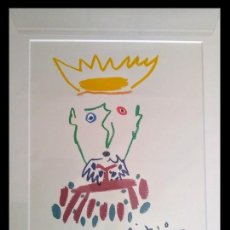 Arte: GRAN LITOGRAFIA DE PICASSO DEL REY ESPECIOSO DE EDICION LIMITADA Y ENMARCADA. Lote 154363350