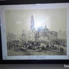 Arte: LITOGRAFIA ANTIGUA ENMARCADA BICHEBOIS ET BAYOT - UN MERCADO. Lote 155250642