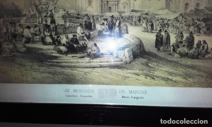 Arte: LITOGRAFIA ANTIGUA ENMARCADA BICHEBOIS ET BAYOT - UN MERCADO - Foto 2 - 155250642