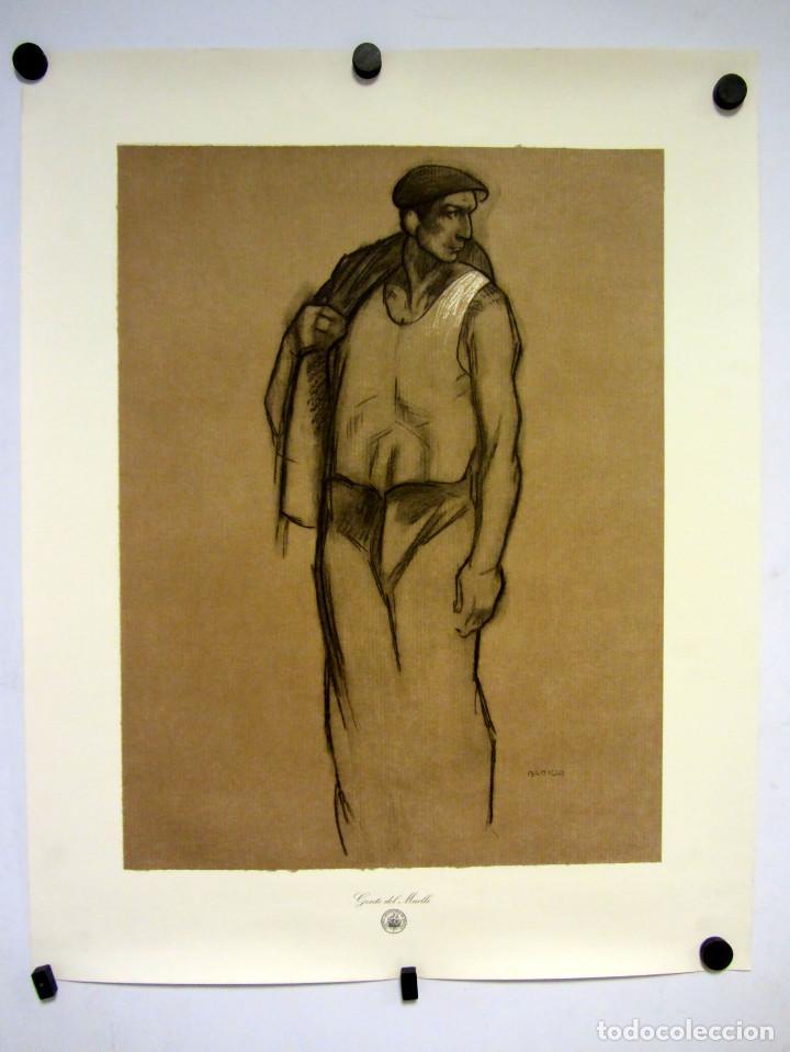 GENTE DE MUELLE. LITOGRAFÍA DE ÁNGEL BADILLO (PINTOR BILBAINO). PARA EL PUERTO AUTONOMO DE BILBAO. (Arte - Litografías)