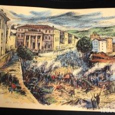 Arte: LITOGRAFIA ORTIZ ALFAU. ACHURI, BILBAO. II GUERRA CARLISTA. COLOREADO A MANO. 1971. Lote 199580697