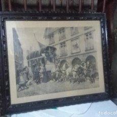 Arte: LITOGRAFÍA ENMARCADA EN MADERA TALLADA, MOTIVO CARRUAJE CORREOS, AUTOR GEORGES BUSSON MED. 65X54 CM.. Lote 160234666