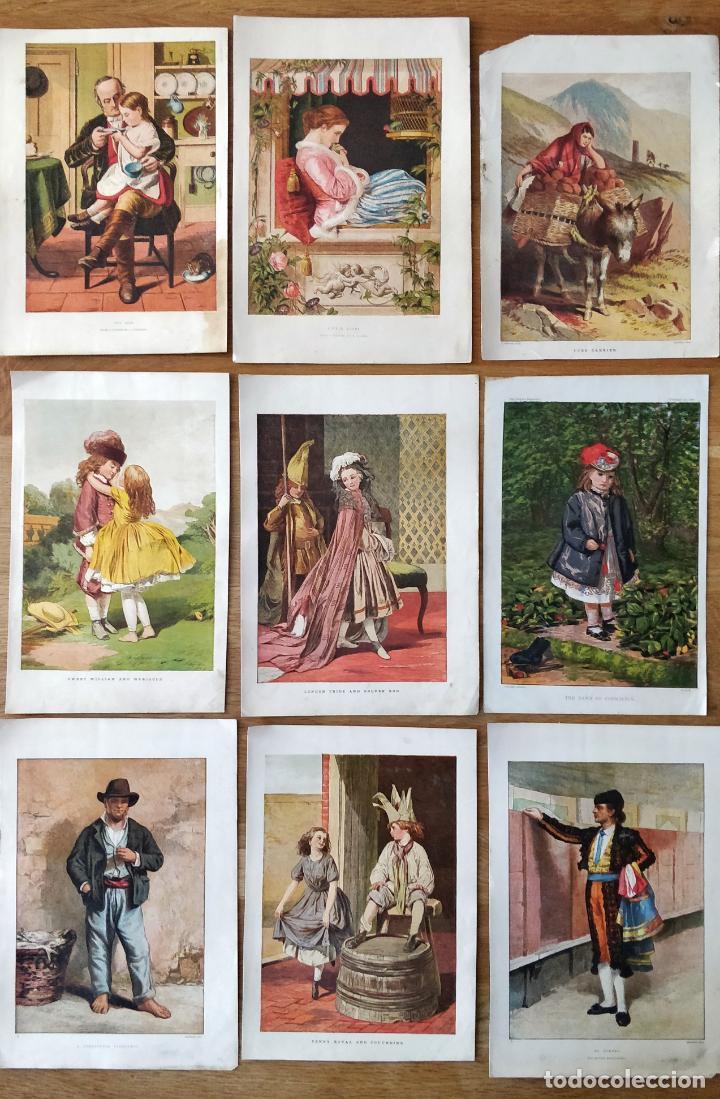 MARAVILLOSO LOTE DE 9 LITOGRAFIAS DEL SIGLO XIX VICTORIANAS, PUBLISHER/PRINTER'S NAME LEIGHTON BROS (Arte - Litografías)