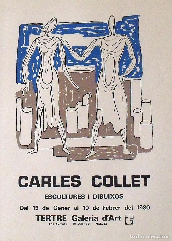 Arte: Carles o Charles Collet. Cartel litográfico. Galería Tertre. Mataró. Escultures i dibuixos. 1980. - Foto 2 - 162284658