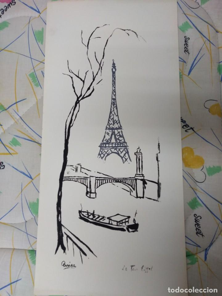 Litografía En Blanco Y Negro Para Colorear Sobre Cartulina Blanca 70 X 33 Cm La Torre Eiffel