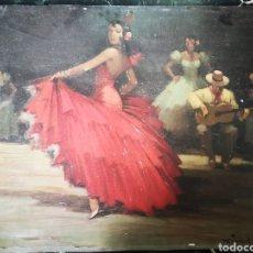 Arte: ANTIGUA LITOGRAFIADA BARNIZADA IMITANDO OLEO, BAILAORA FLAMENCA 60X45CM. Lote 163604220