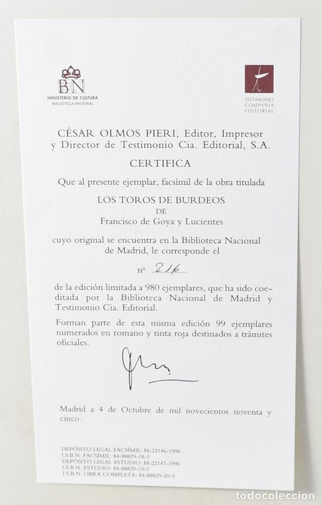 Arte: Edición facsímile de las 4 litografía Los Toros de burdeos de Francisco de Goya. Grabados - Foto 5 - 165067170