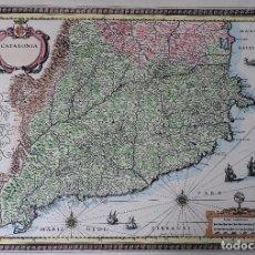 Art: MAPA DE CATALUÑA - LITOGRAFIA ACUARELADA A MANO. Lote 165523678