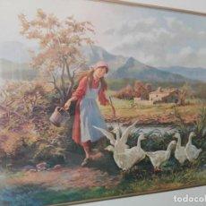 Arte: CUADRO LITOGRAFÍA DE DIBUJO FAMOSO CON CRISTAL Y MARCO DE MADERA. Lote 165747366