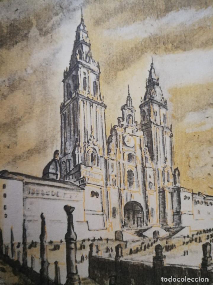LITOGRAFIA 1932 SERGE SERGIO ROVINSKY.SANTIAGO D COMPOSTELA.GALICIA.LA ESPAÑA GRANDIOSA Y FANTÁSTICA (Arte - Litografías)