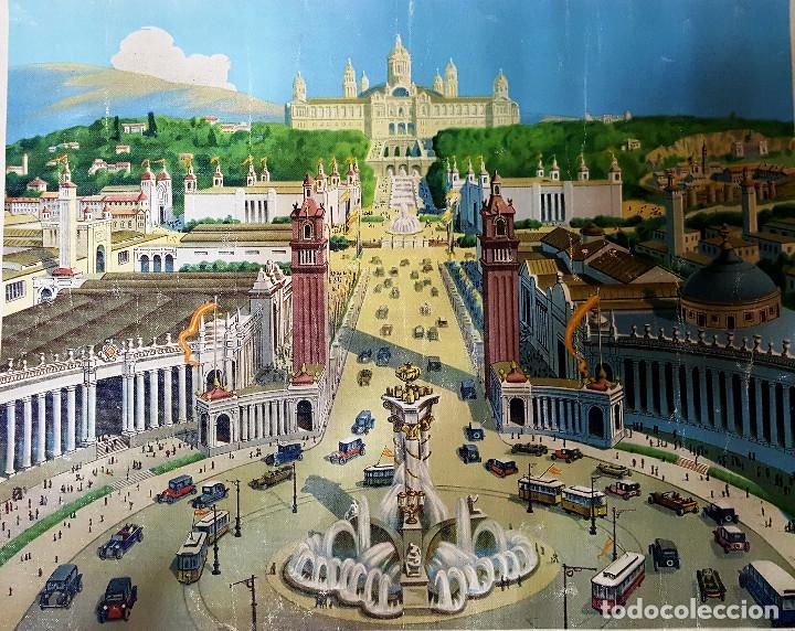 LITOGRAFIA SOBRE LIENZO EXPOSICCIÓN INTERNACIONAL DE BARCELONA DEL AÑO 1929 (Arte - Litografías)