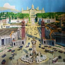 Arte: LITOGRAFIA SOBRE LIENZO EXPOSICCIÓN INTERNACIONAL DE BARCELONA DEL AÑO 1929. Lote 167153980