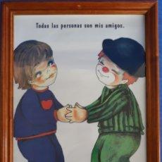 Arte: LITOGRAFÍA ENMARCADA TODAS LAS PERSONAS SON MIS AMIGOS. Lote 168673045