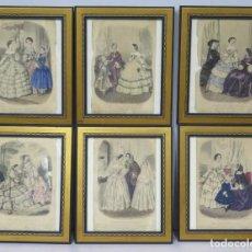 Arte: SERIE DE 6 LITOGRAFIAS COLOREADAS DE TIPOS DE MODA. SIGLO XIX. Lote 169682220