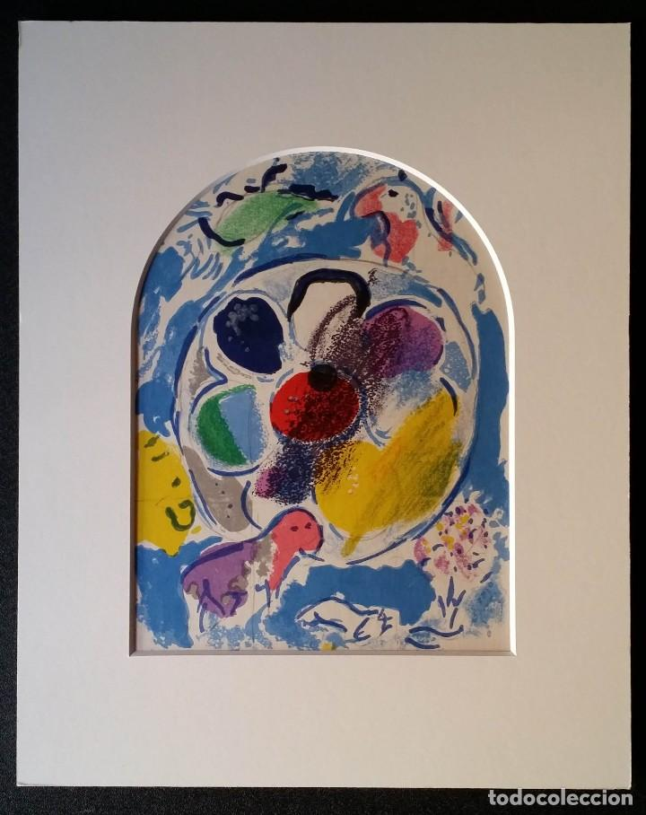 MARC CHAGALL: LITOGRAFÍA BENJAMIN, VIDRIERAS DE JERUSALEM / SAURET-MOURLOT, 1962 (Arte - Litografías)