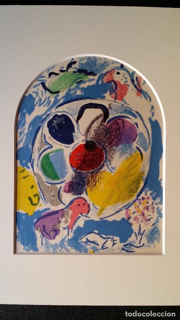 Arte: Marc CHAGALL: litografía BENJAMIN, Vidrieras de JERUSALEM / SAURET-MOURLOT, 1962 - Foto 3 - 170368608
