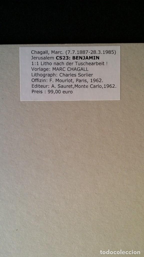 Arte: Marc CHAGALL: litografía BENJAMIN, Vidrieras de JERUSALEM / SAURET-MOURLOT, 1962 - Foto 10 - 170368608
