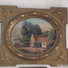 Arte: MARCO ISABELINO CON LITOGRAFÍA ORIGINAL DE LA ÉPOCA. CIRCA 1890-1900. MEDIAS 81 CM X 70 CM.. Lote 170390064