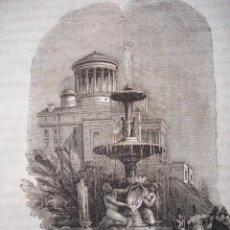 Arte: MADRID FUENTE DE LA ALCACHOFA EN EL PRADO GRABADO ORIGINAL DEL AÑO 1849. Lote 170907040