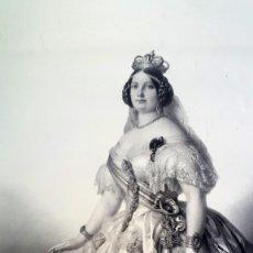 Arte: ISABEL II - 1856 - LITOGRAFIA LEÓN NOEL - GRAN FORMATO. Lote 172838973