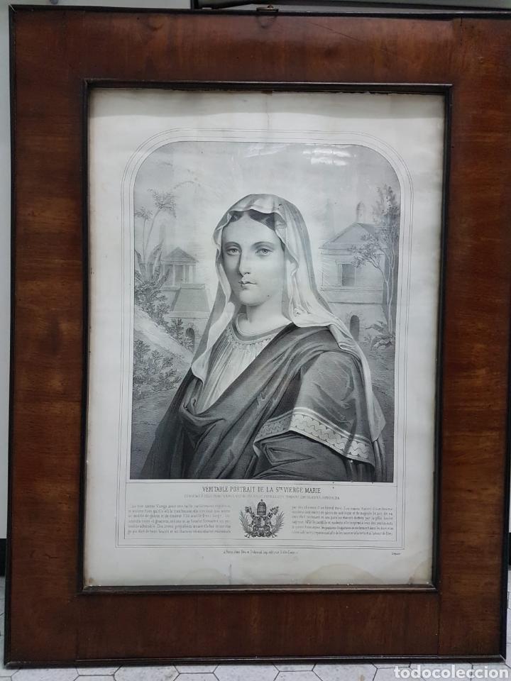Arte: LE VERITABLE PORTRAIT DE LA VIERGE MARIE. BAUSSAN, FRANCOISE. 1860. RETRATO DEL EVANGELIO SAN LUCAS. - Foto 3 - 175720057