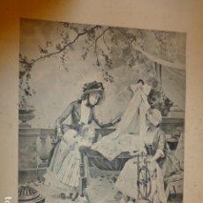 Arte: AMA DE CRIA NIÑERA NODRIZA HILANDO Y ACUNANDO BEBE LITOGRAFIA SIGLO XIX 35 X 46 CMTS. Lote 175867450