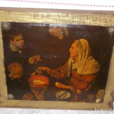 Arte: CUADRO ANTIGUO-LA VIEJA FRIENDO HUEVOS DE VELAZQUEZ-PINTURA SOBRE TABLA DE MADERA-AÑOS 50-60. Lote 176030012