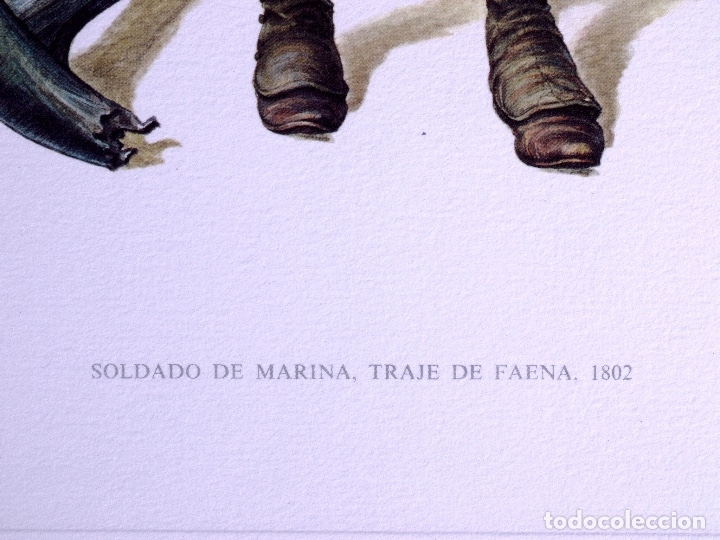 Arte: LÁMINAS MILITARES ESPAÑOLES. SOLDADO DE MARINA. 1807 - Foto 2 - 176283777