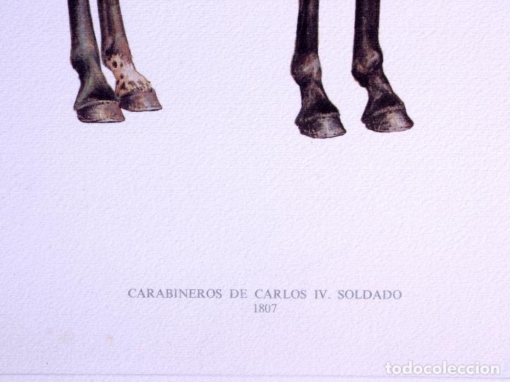 Arte: LÁMINAS MILITARES ESPAÑOLES. CARABINEROS. 1807 - Foto 2 - 176284152