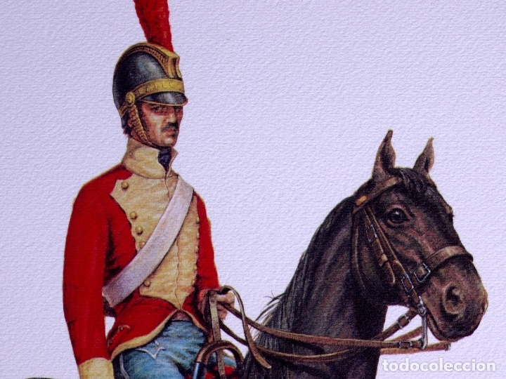 Arte: LÁMINAS MILITARES ESPAÑOLES. CARABINEROS. 1807 - Foto 3 - 176284152
