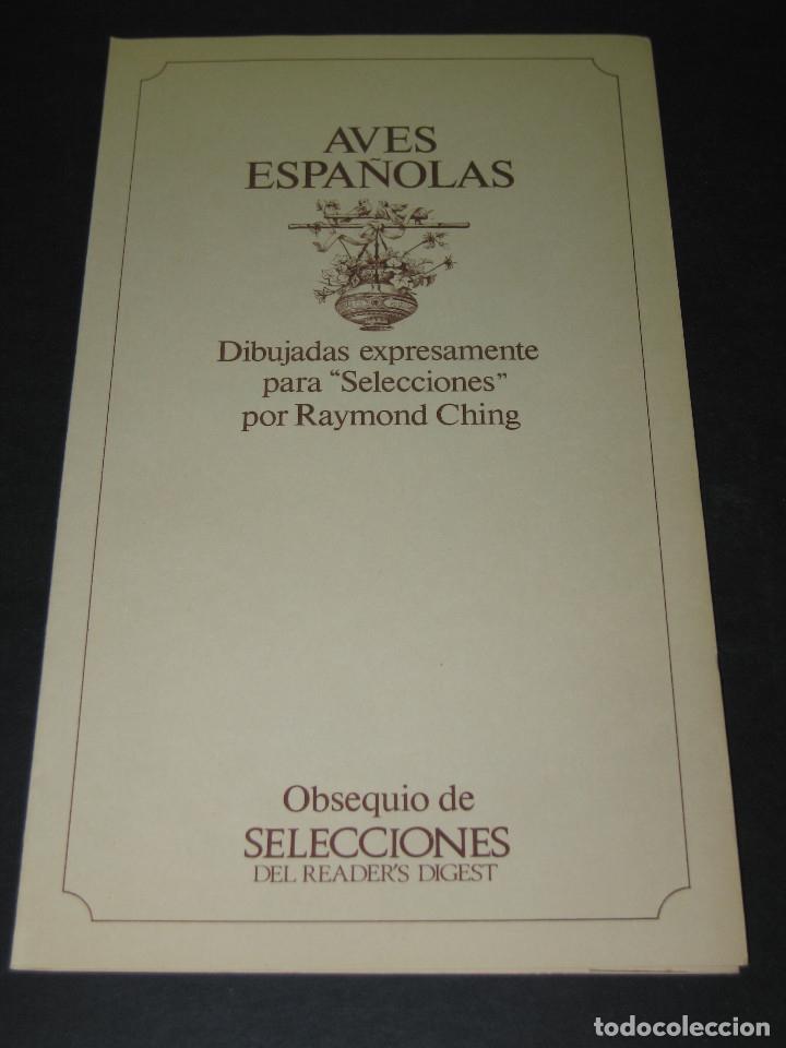 3 LAMINAS CON CARPETA - AVES ESPAÑOLAS - DIB. RAYMOND CHING - '70S. - ED. READER'S DIGEST (Arte - Litografías)