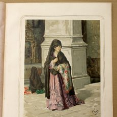Arte: CROMOLITOGRAFIA SEÑORA CHILENA CON TRAGE PARA MISA. REPUBLICA DE CHILE. AÑO 1873. Lote 176901860