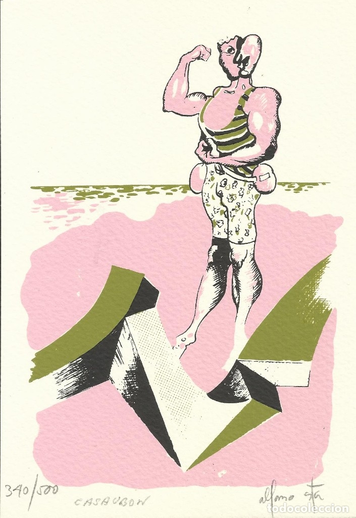 ALFONSO COSTA BEIRO Y PASCUAL CASAUBON. LITOGRAFÍA NUMERADA 340/500. FIRMADA A MANO. 1979. 21X15 CM (Arte - Litografías)